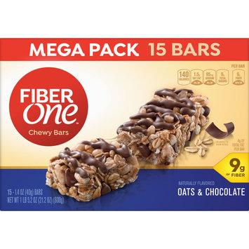 Fiber One Chewy Bar, Oats and Chocolate, 15 Fiber Bars Mega Pack, 5.2 oz