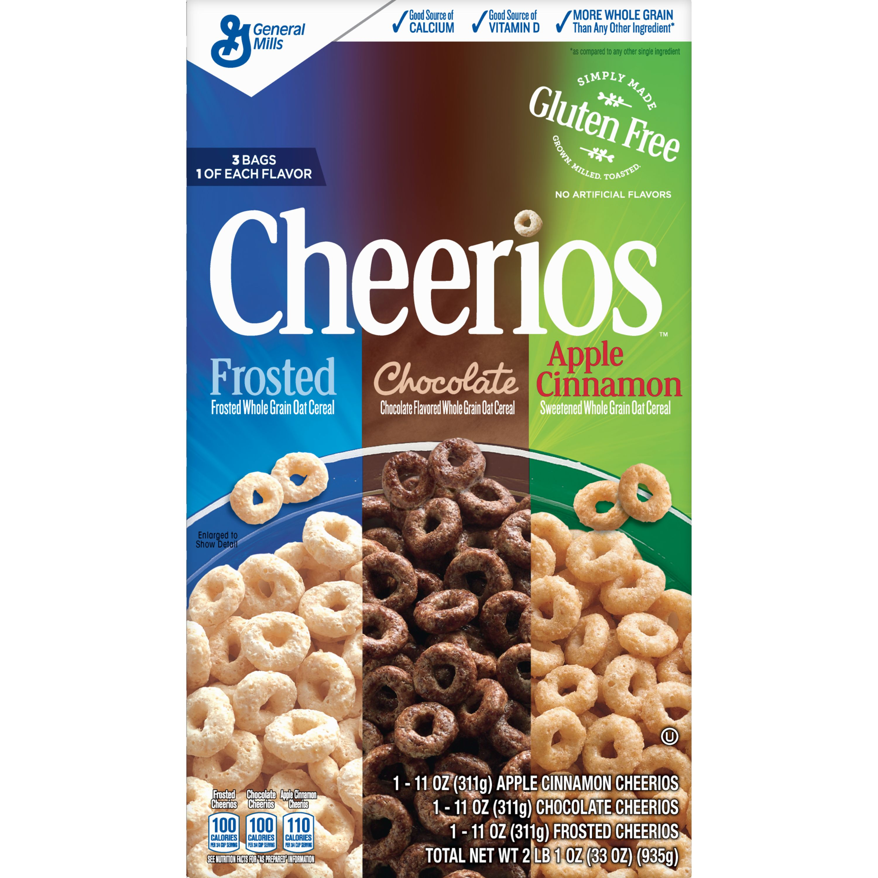Frosted/Chocolate/Apple Cinnamon Cheerios Cereal Variety Pack, 33 oz