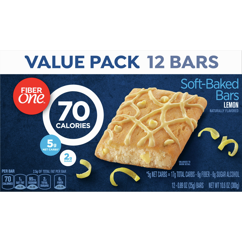 Fiber One Brownies, 70 Calories, 5 Net Carbs, Snacks, Lemon, 12ct