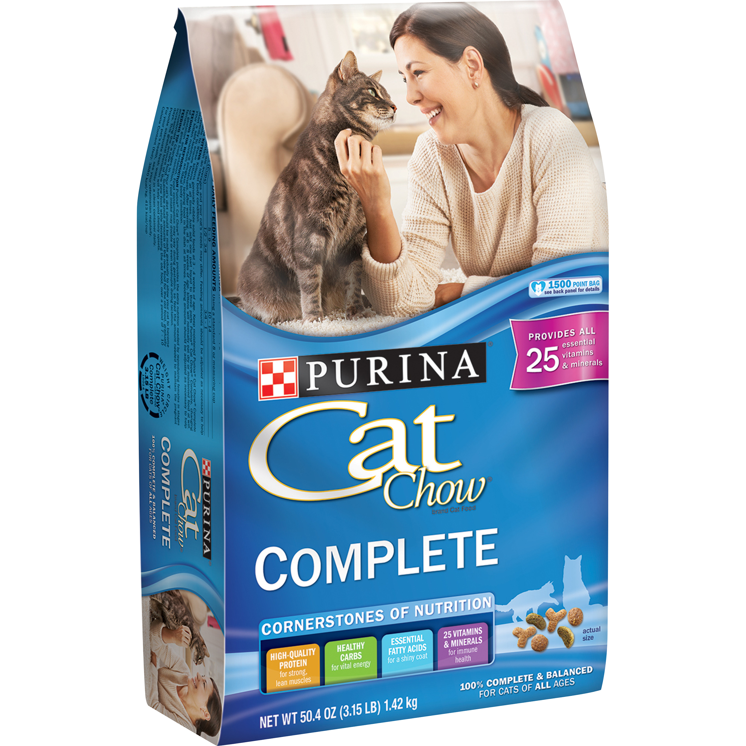Purina Cat Chow Dry Cat Food; Complete - 3.15 lb. Bag