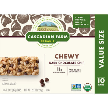 Cascadian Farm Organic Granola Bars Chocolate Chip 10 Bars, 12.3 oz
