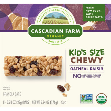 Cascadian Farm Chewy Granola Bar Organic non-GMO Oatmeal Raisin, 6.24 Ounce Bars, 8 Count