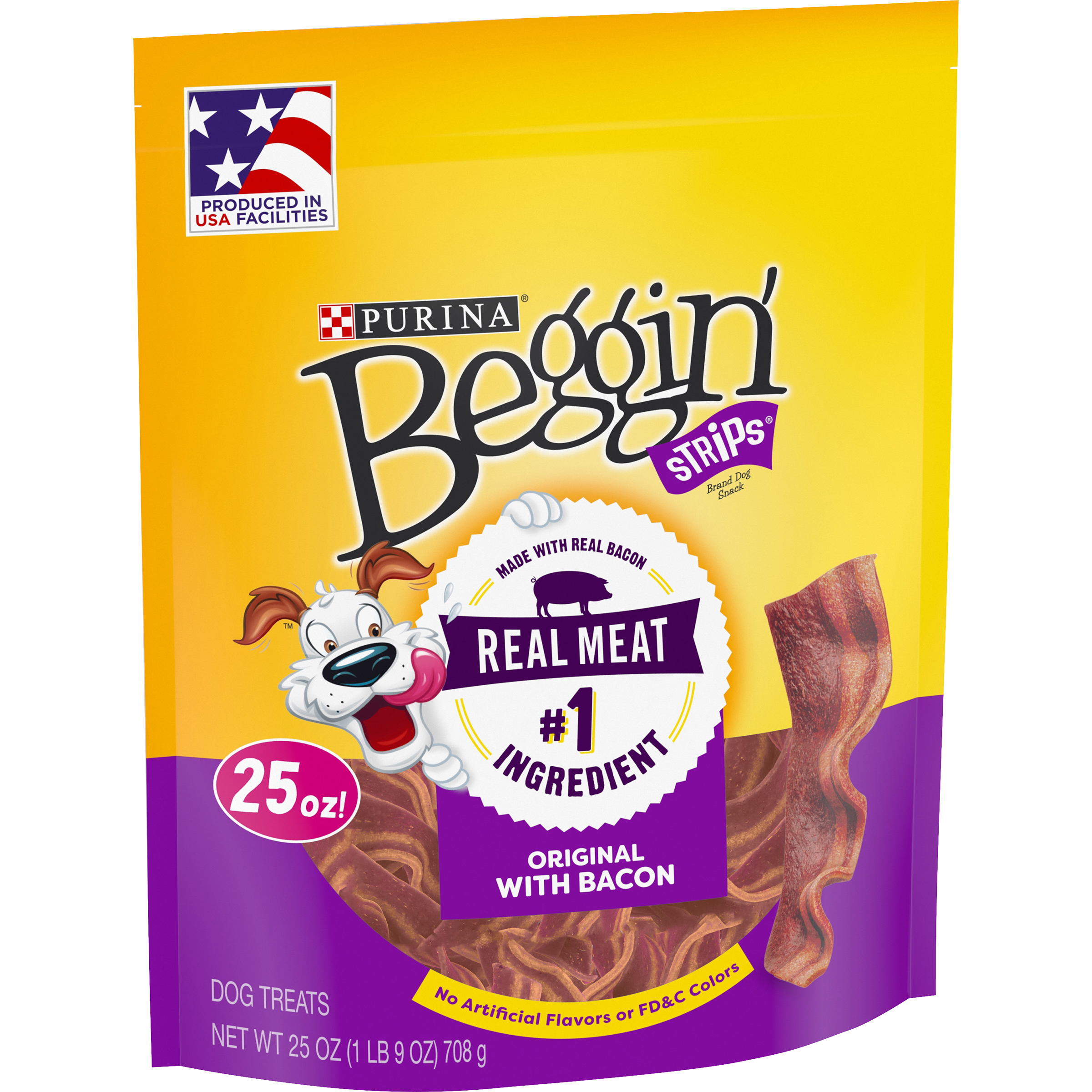 Purina Beggin' Strips Made in USA Facilities Dog Training Treats; Original With Bacon - 25 oz. Pouch