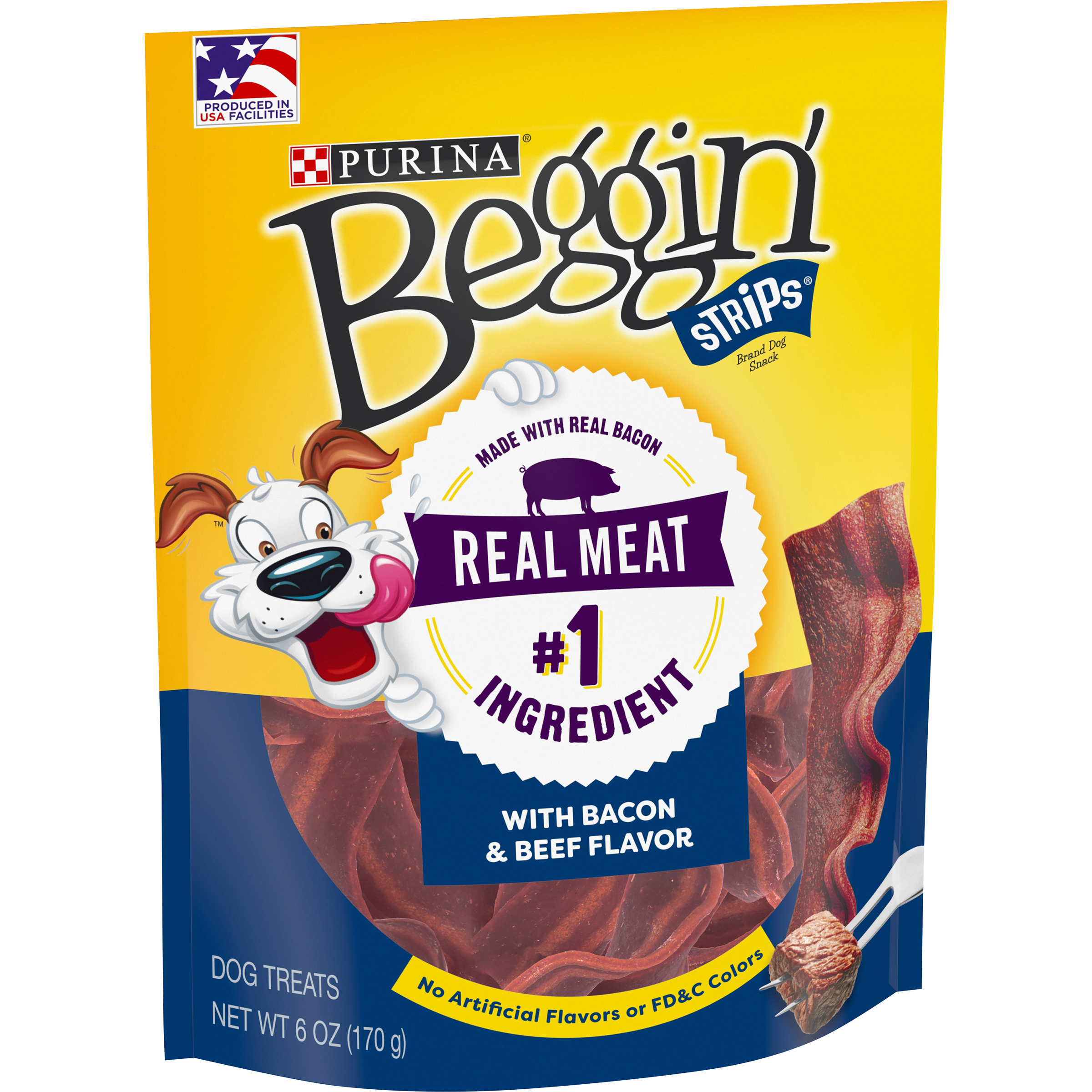 Purina Beggin' Strips Made in USA Facilities Dog Training Treats; Bacon & Beef Flavors - 6 oz. Pouch