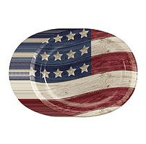 Member's Mark Wooden Flag Paper Plates - 10