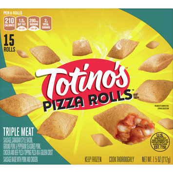 Totino's Pizza Rolls, Triple Meat, 15 Rolls, 7.5 oz Box