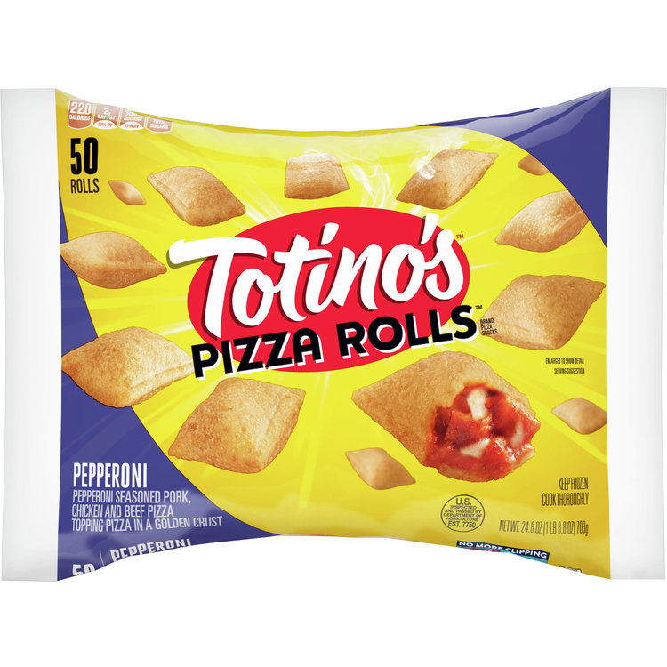 Totino's Pizza Rolls, Pepperoni, 50 Rolls, 24.8 oz Bag