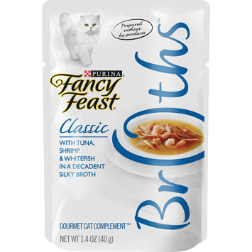Purina Fancy Feast Broth Wet Cat Food Complement; Broths With Tuna, Shrimp & Whitefish - 1.4 oz. Pouch