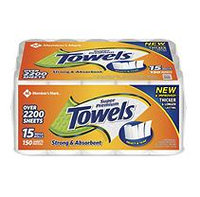 Member's Mark Paper Towel, 15 Rolls/150 Sheets per Roll
