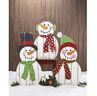 Burton+burton Wood Plank Snowman Family