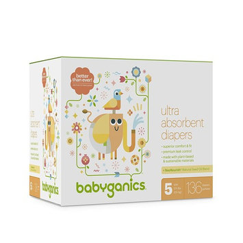 Babyganics Ultra Absorbent Diapers, Size 5, 136 Count [136]