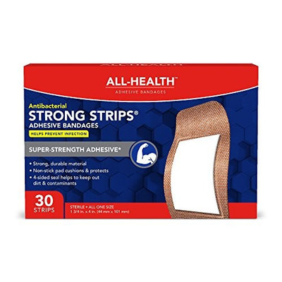 All Health Heavy Fabric Strong Strip, Antibacterial, XL, 30 Count