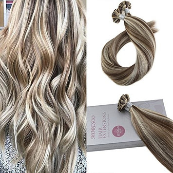 Moresoo 24 Inch Utip Keratin Hair Extensions Fusion Hair Brazilian Hair Straight Color #9A Brown Highlighted with #60 Blonde Nail Tip Human Hair Extensions 1G/1S 50G