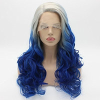 Lushy Wavy Long Grey Root Blue Ombre Half Hand Tied Heat Friendly Full Density Synthetic Lace Front Wig