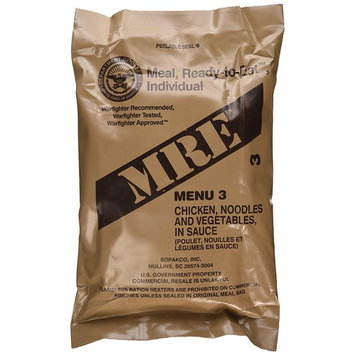 MRE (Meals Ready-to-Eat) Genuine US Military Surplus with Menu Selections, 18 Chicken w/Noodles