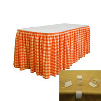 LA Linen SKTcheck30x29-15Lclips-OrangeK48 Oversized Checkered Table Skirt with 15 L-Clips White & Orange - 30 ft. x 29 in.