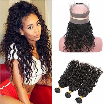 Ruma Hair Wet And Wavy 360 Lace Band Frontal Closure 22.5x4x2'' With Bundles Brazilian Water Wave Virgin Human Hair Weaves With Pre Plucked 360 Full Lace Frontals (14+14 16 18)