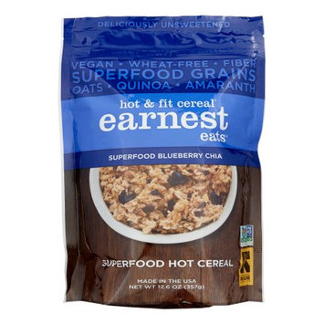 Earnest Eats Vegan Hot Cereal, Superfood Blueberry Chia Blend, 12.6 Oz, 6 Pack