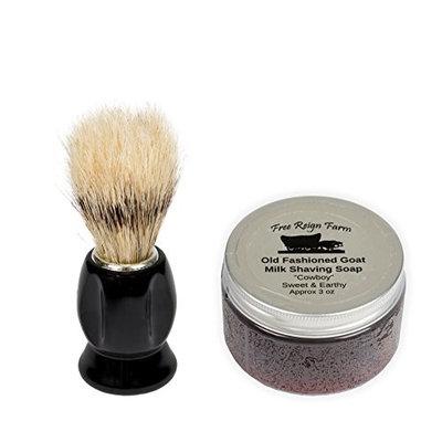 Free Reign Farm Cowboy Honeysuckle & Patchouli 3 Ounce Goat Milk Shaving Soap with Brush