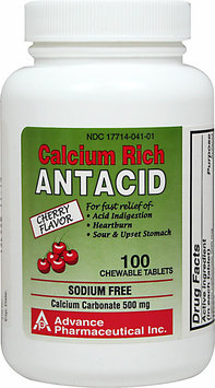 Advanced Pharmaceutical Inc. Chewable Antacid Calcium Carbonate 500 mg-100 Chewables