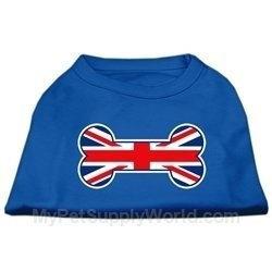 Ahi Bone Shaped United Kingdom (Union Jack) Flag Screen Print Shirts Blue Med (12)