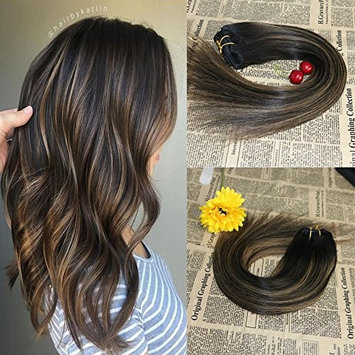 18'' 7 Pieces 120g Remy Clip in Omber Hair Extensions Color #1B Natural Color to #6 Medium Brown Clip in Balayage Human Hair Extension 10a grade Brazilian Real Hair Clip in Extensions