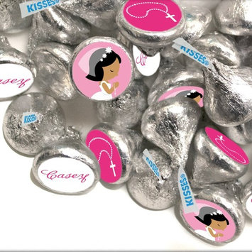 Personalized First Communion Stickers for HERSHEY'S KISSES - Black Hair (108 Count)