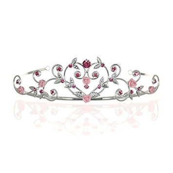 Rose Flower Rhinestone Crystal Wedding Tiara Crown - Pink Roses Silver Plating by Venus Jewelry