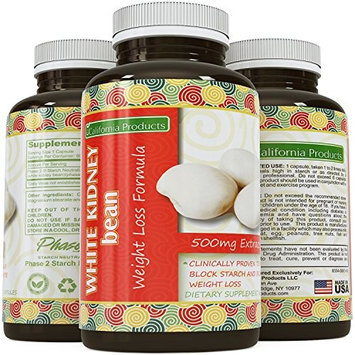 Pure White Kidney Bean Extract Pills a Natural Dietary Weight Loss Supplement with Starch Carb Blocker Appetite Suppressant Lose Body Fat Aid Digestive System for...