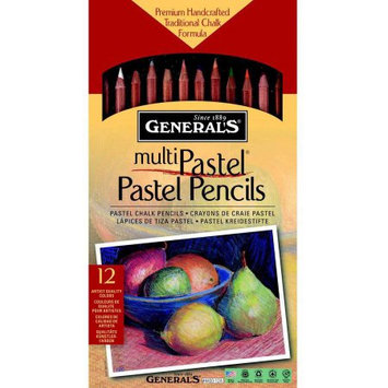 General Pencil Company General's Multi-Pastel Non-Toxic Chalk Pencil with Sharpener and Project Booklet, Assorted Color, Pack of 24