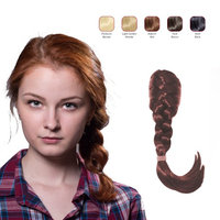 Buy 2 Hollywood Hair French Plat Hair Piece and get 1 Flat Braid Headband - Auburn Red (Pack of 3)