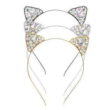 Crystal Cat Ears Hair Hoop UBTKEY Rhinestone Jewels Cat Ear Headbands Women Costume Girls Hair Accessories Headpieces - 3PCS