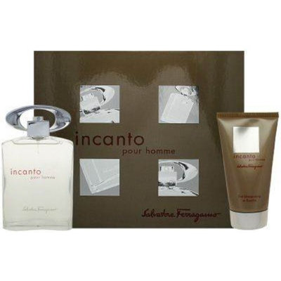 Incanto Pour Homme by Salvatore Ferragamo 2 Piece Set Includes: 3.4 oz Eau de Toilette Spray + 2.5 oz Shampoo and Shower Gel