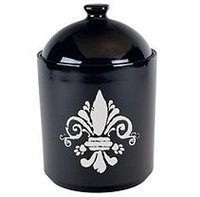 Tara Reed Ceramic Fleur de Lis Pet Canister Black