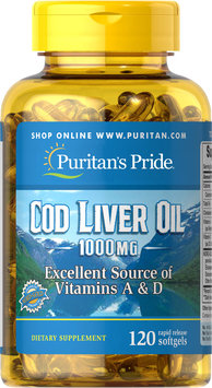 Puritan's Pride Cod Liver Oil 1000 mg-120 Softgels