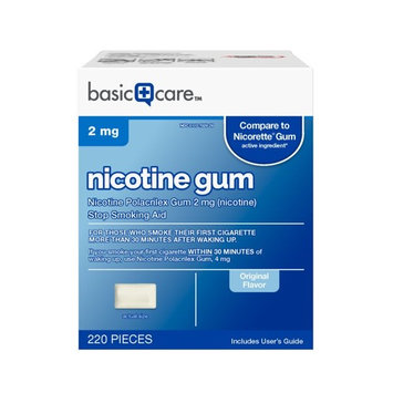 Basic Care Nicotine Gum 2mg, Stop Smoking Aid, Original, 220 Count