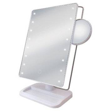 LED Sensor Mirror with 10X Magnification and Tray Base