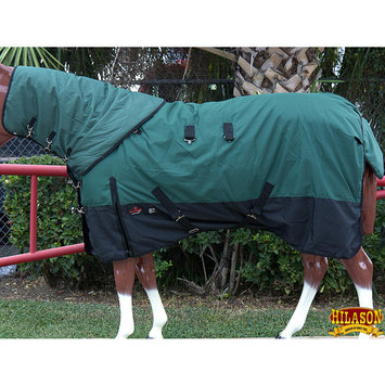 HILASON 1200D WATERPROOF POLY TURNOUT HORSE BLANKET NECK COVER GREEN BLACK