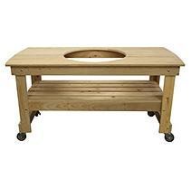 Vision Grills Large Cypress Wood Kamado Table with Centered, Wood Grain VG-HTCLCU1