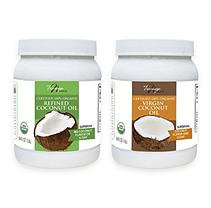 Tresomega Nutrition Healthy Cooking Oil Combo Pack (1-54 Virgin Coconut Oil, 1-54oz Refined Coconut Oil)