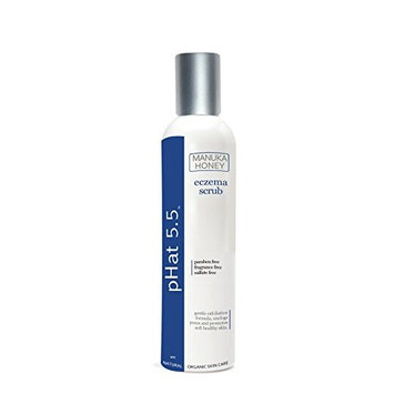 Eczema Skin Care Treatment Scrub by pHat 5.5 (16 oz) Gentle Exfoliator for Sensitive Skin with Manuka Honey & Aloe Vera - No Cutting Shell