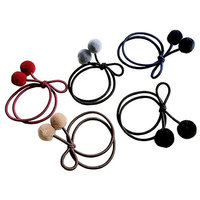 5pcs Double Plush Balls Hair Tie Twist Bowtie Hairband Hair Rope(5 Assorted Colors)