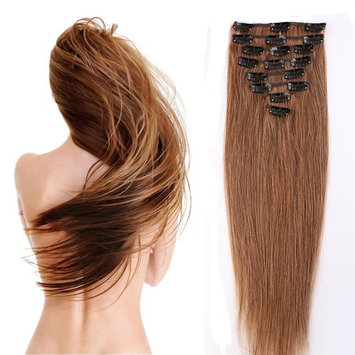 100% Real Remy Clip in Hair Extensions 16-22inch Grade AAAAA Natural Hair Full Head Standard Weft 8 Pieces 18 Clips Long Smooth Soft Silky Straight for Women Fashion (18