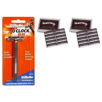 7 O'Clock PII Trac II Razor + Colonel Ichabod Conk Trac II Blade Cartridges 10 ct. (Pack of 2) + FREE Schick Slim Twin ST for Dry Skin
