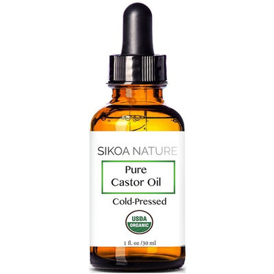 SIKOA Skincare Pure 100% Castor Oil Cold Pressed- Pure Oil For Eyelashes, Face, Skin Moisturizer, Hair Growth, Scalp, Thicker Eyebrows.1 oz