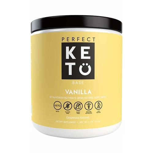 Perfect Keto Vanilla Exogenous Ketones: Base BHB Salts Supplement- Ketones for Ketogenic Diet Best to Support Energy, Focus and Ketosis Beta-Hydroxybutyrate BHB Salt 8.4 oz [Vanilla]