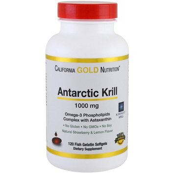 California Gold Nutrition, Antarctic Krill Oil, with Astaxanthin, RIMFROST, Natural Strawberry & Lemon Flavor, 1000 mg, 120 Fish Gelatin Softgels [Potency : 1000 mg]