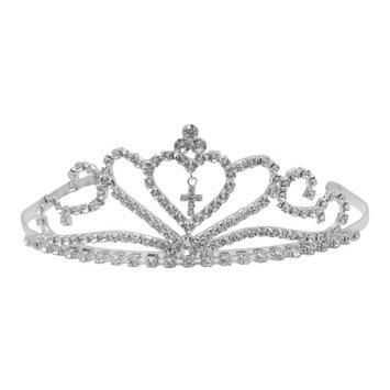 Futuron Girls Silver Sparkle Rhinestone Dangling Cross Tiara Headpiece