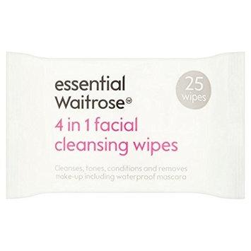 3 in 1 Facial Wipes essential Waitrose 25 per pack (PACK OF 4)