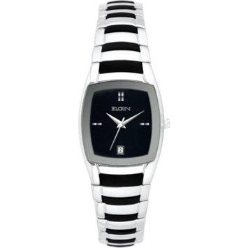 Elgin Women's Silver-Tone Black Sunray Dial Rubber Integrated Bracelet Watch